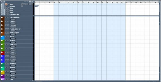 My template with all the different folders color coded by the stems they are routed to.