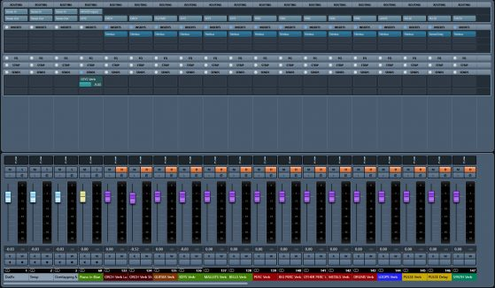 Mixer view of my template. I only have Piano in Blue enabled, you can see it is routed to my KEYS stem (top of the fader strip) and that I'm using a send going to my KEYS reverb. You'll notice I use CAPS for my FX + what they are (i.e. ORCH Verb Long, ORCH Verb Short, PULSE Delay). You can see each reverb is routed to its corresponding stem & solo defeat is enabled.
