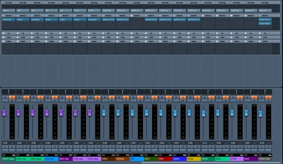 The rest of my mixer setup, after my FX you'll see my stems beginning with ORCH. You'll notice all the stems are routed to STEREO MIX, which is my stereo stem, and that the STEREO MIX stem is routed to Stereo Out, which is the physical output. You'll also notice all the colors match.