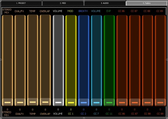 Screenshot of my Lemur Faders page, where I have virtual faders to control various functions. The 4 faders on the left are fixed and control volume for my guide tracks and stereo mix. The rest of the faders all affect whichever track is selected at the time. VOLUME controls audio volume, CC1 = MOD Wheel, CC 2 = Breath Control, CC 7 = MIDI Volume, CC 11 = Expression, and CCs 86-89 are unassigned, and I can assign them to plug-in automation as needed.