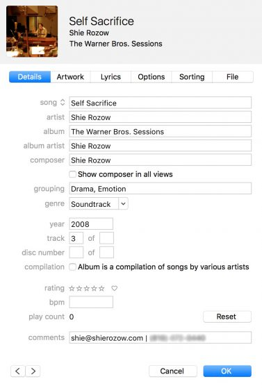 Detailed metadata also includes some descriptive words in the grouping, track number and contact information in the comments.