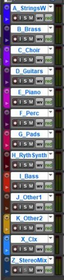 Track stems with their assigned colors.