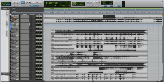 This is an example of poor session prep. All I did was drag in all the pre-record stems, which line up nicely. But notice the track names are incomprehensible and I didn't actually print the click track, relying on a live click track.