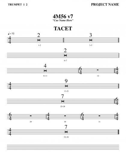 Note that this part is for both the 1st & 2nd trumpets. There's no need to create separate tacet parts for each one.